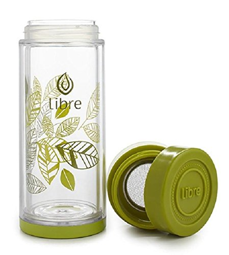 Libre Tea Durable Glass Infuser Bottle with Mesh Strainer for Loose Leaf, Matcha, Fruit Water and Coffee, Use Iced or Hot, Perfect for Travel, BPA-Free, 14oz, Lively Leaves Green