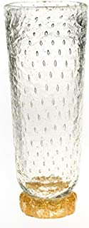 YourMurano Murano Glass Vase, Clear Vase, Gold Leaf and Bubbles Decorations, Cylindrical Shaped Vase, Tall, Blown Glass, Handmade, 100% Trademark of Origin Guaranteed, Crystal Gala