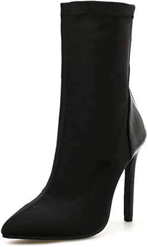 DANDANJIE zapatos de tacón Alto de Las señoras de Las mujeres Tacones de Aguja de tacón Puntiagudo Fuerza elástica Calzado cómodo (rojo negro)