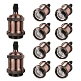 DiCUNO E27 Vintage Portalampada, Edison retro lampada a sospensione, Adattatore in ceramica solida, 10 Pezzi di rame rosso socket