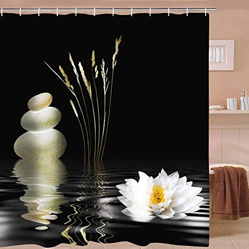 Elloevn Anti Schimmel Duschvorhang, Zen Pebble & Seerosen Schwarz Duschvorhänge für Erwachsene, Waschbar Textil Duschvorhang 175x178 cm
