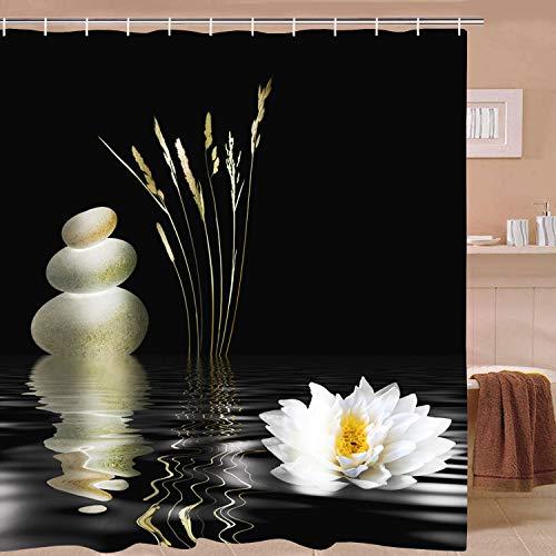 Elloevn Anti Schimmel und Wasserdicht Duschvorhang, Zen Pebble und Seerosen Schwarz Duschvorhänge für Erwachsene, Abwaschbar Duschvorhang 175x178 cm