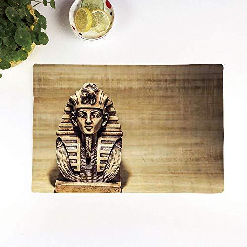Set 4er Platzset rutschfest, Ägyptische Stein Pharao Tutanchamun Maske Skulptur Papyrus H,Platzdeckchen Rutschfest Abwaschbar Tischmatten Abgrifffeste Hitzebeständig Tischsets, Platz-Matten für küche