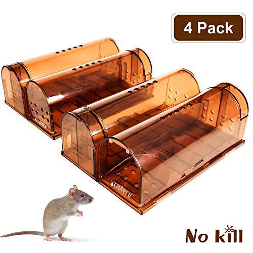 J TOHLO-4er Set Mausefalle lebend Mit Reinigungsbürste, Maus lebendfalle Wiederverwendbare Atmungsaktiv Transparent No-Kill tierfreundlich und umweltbewusst Mäuse fangen im Haus oder Garten