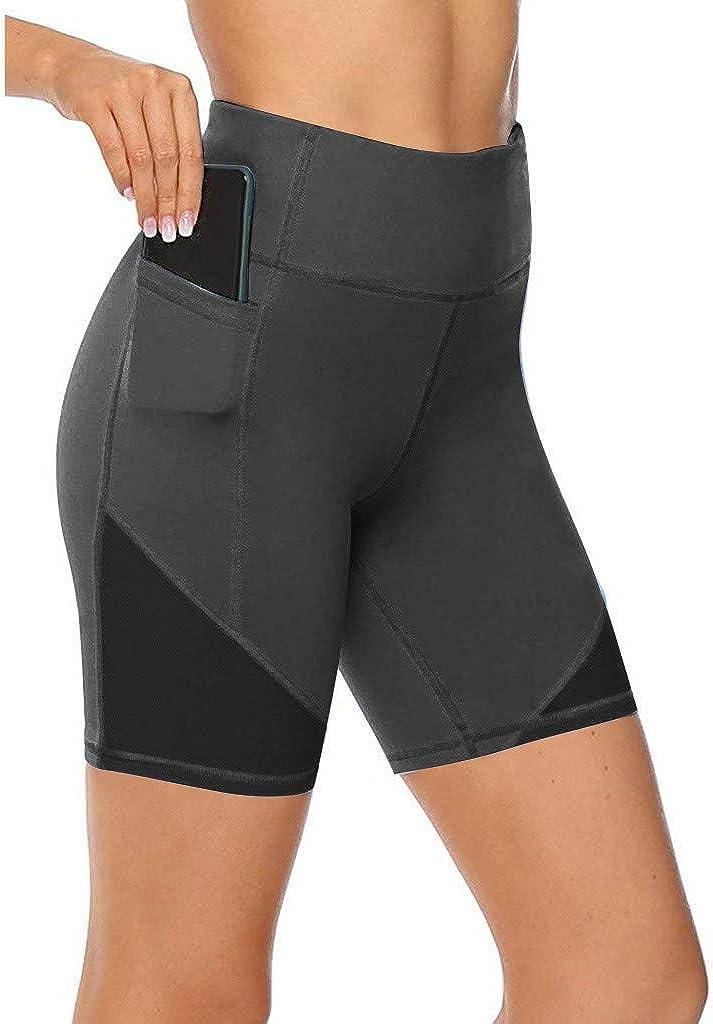 AODONG Yoga Shorts for Women High Waisted, Biker Workout Shorts High Waisted Tummy Control Running Yoga Shorts with Pockets