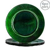 Argon Tableware Juego de bajoplatos Redondos - Verde - 330mm - Pack de 6