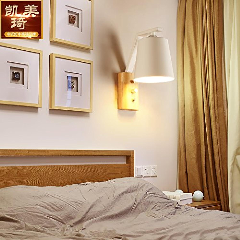 BESPD Nordic Timber Wandleuchten Bügeleisen Massivholz Moderne Kunst Nachttischlampe Holztreppe Leuchten Innen-, schwarzes Gehuse (7W warmes Licht -