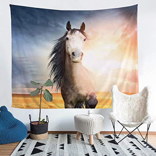 Loussiesd 3D Horse Tapestry Galloping Horses Tapestry Wall Hanging for Kids Boys Cute Wild Animal Wall Tapestry Sunset Wildlife Style Decor Wall Art for Bedroom Living Room,Medium 51x59 Inch