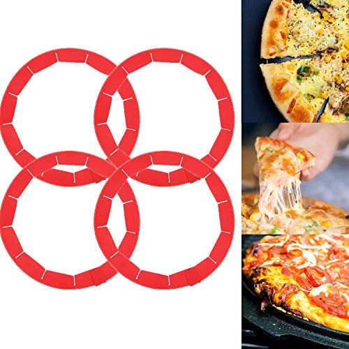 Adjustable Pie Crust Shield Food Grade Silicone Pie Protectors BPAfree Pie Shield Cover Kitchen Baking Pie Accessories Tools Set for 8 quot to 114 quot Diameter Pies Pizza Fits Rimmed Dish 4 Pack Red