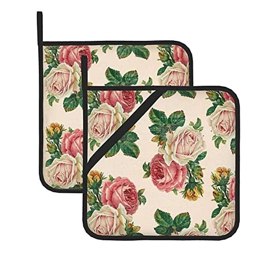 Juego de 2 soportes para ollas de cocina resistentes al calor y manoplas de horno, rosas rosas rosas rosas rosas rústicas para cocinar a la parrilla, almohadillas de aislamiento de microondas