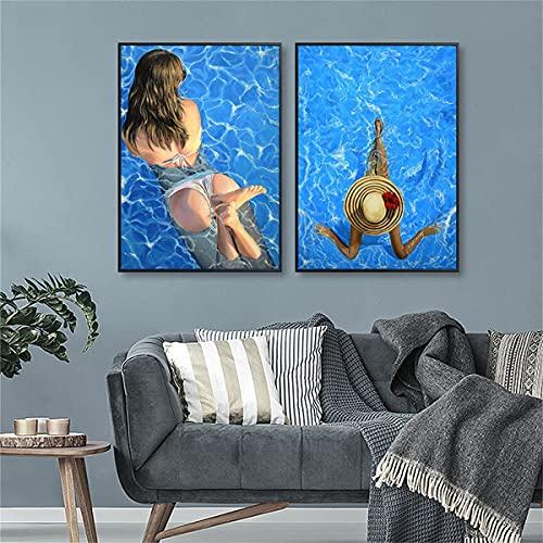 paglutaw Moderno Bikini Sexy Mujer Cartel E Impresión Azul Piscina Moda Moda Belleza Pared Lienzo Pintura Para Sala De Estar Decoración De La Casa 40x60cm Inner_Framed