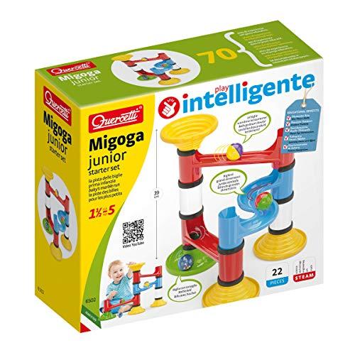 Quercetti- Migoga Junior Gioco con Pista per Biglie, Multicolore, 22 Pezzi, 6502