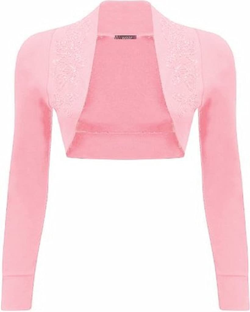 ZJ Clothes New Ladies Long Sleeve Beaded Shrug Bolero Top Womens