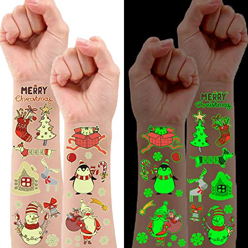 Partywind 10 Sheets Luminous Christmas Temporary Tattoos for Kids Stocking Stuffers, Christmas Party Decorations Supplies Favors for Birthday Party, Xmas Holiday Stickers Games for Boys and Girls