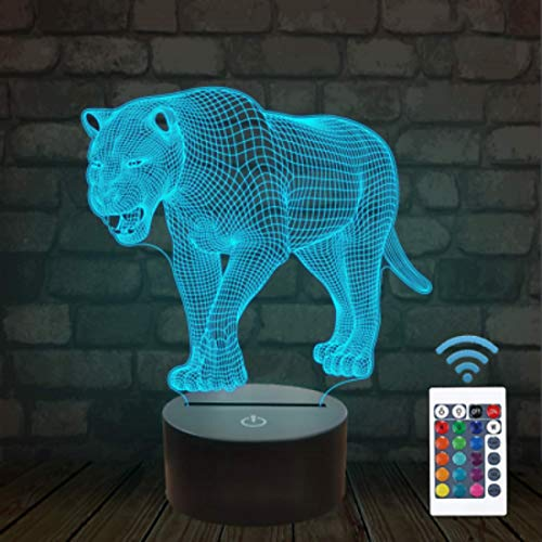 Lámpara de luz de noche de tigre de león 3D, 16 cambio de color, LED de control remoto USB, mesa de regalo de niños, decoración de San Valentín, regalo de cumpleaños juguetes