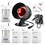 KERUI Upgraded Standalone Home Office Shop Security Alarm System Kit,Wireless Loud Indoor/Outdoor Weatherproof Siren Horn with Remote Control and Door Contact Sensor,Motion Sensor,Up to 115db