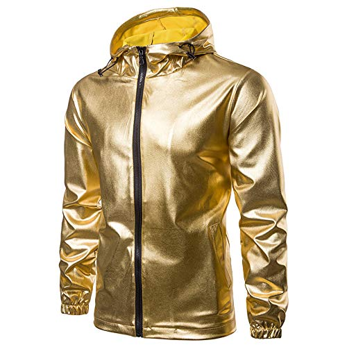 Veste Hommes Nouvelle Mode Couleur Unie Brillant Mode Capuche Zip Cardigan Veste en Cuir