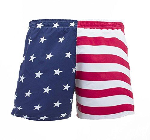 UZZI Men's American Flag Swim Trunks, Red, Blue, White, Medium (30