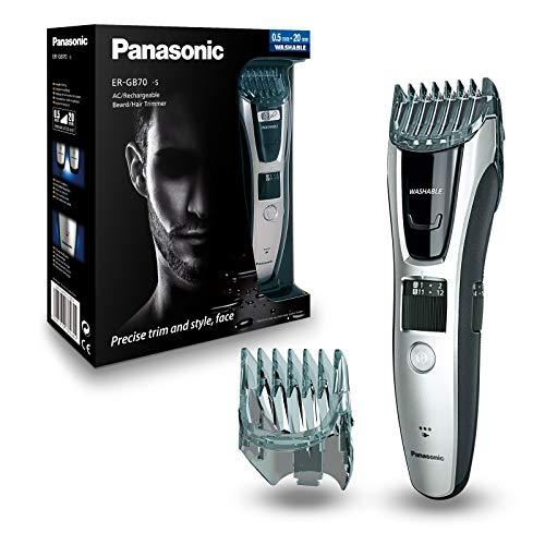 Panasonic ER-GB70-S503 Regolabarba e Tagliacapelli Lavabile, Taglio 1-20 mm, Nero/Argento