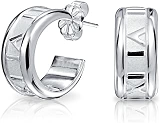 769ea1771 Tiny Carved Roman Numeral Sleek Huggie Hoop Earrings For Women 925 Sterling  Silver Polished Finish