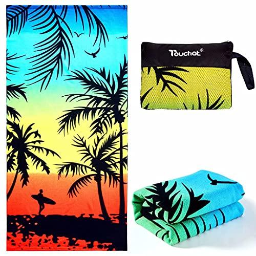 "Touchat Beach Towel Oversized,Thick Sand Free Microfiber Beach Towel 30""x60"", Super Absorbent Tropical Coconut Tree Sunset Swim Beach Towels for Kids,Women,Men,Boys , Girls"