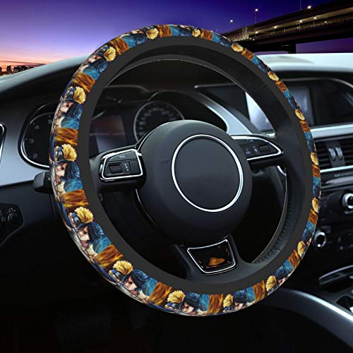 Anime Naruto Neoprene Steering Wheel Cover for Women,Universal 15 Inch Cute Anime Breathable Anti Slip Stretch Steering Wheel Covers Car Protector Accessories -Black