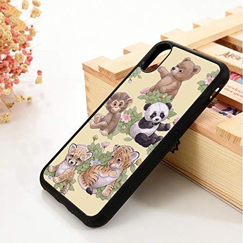 WGOUT para iPhone 5 5S 6 6S Funda de Gel de sílice de TPU Suavepara iPhone 7 Plus X XS 11 Pro MAX XR Animal Panda Monkey Funda para teléfono, para iPhone 6