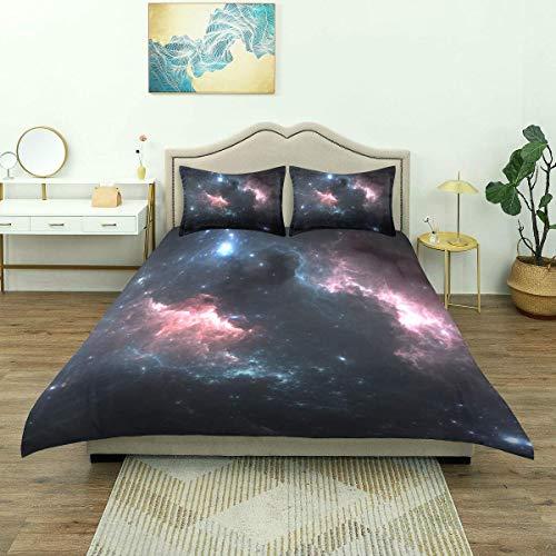 Funda nórdica, Estrellas de Nebulosa de Fondo Espacial, Juego de Cama de Microfibra de 3 Piezas, Ultra Suave, cómodo diseño Moderno