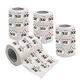 AUTUUCKEE Papel higiénico de Feliz Navidad, 4 rollos de papel higiénico divertido con patrón de Navidad (pulpa de madera)