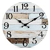 Reloj de pared – 25,4 cm silencioso, no hace tictac, funciona con pilas, estilo rústico retro rústico, decorativo para sala de estar, cocina, hogar, baño, dormitorio