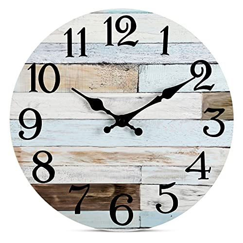 Wall Clock - 10 Inch Silent Non-Ticking Wooden Wall Clocks Battery Operated - Country Retro Rustic...