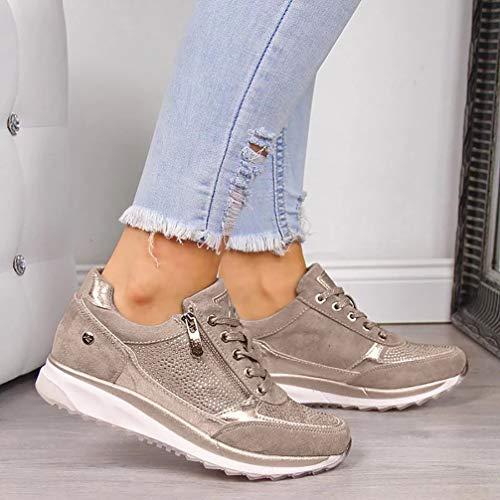 EVR Zapatillas Running para Mujer Zapatos Casuales con Cordones De Moda Zapatos Deportivas Mujer Liviano Sneakers para Correr Trail,01,38