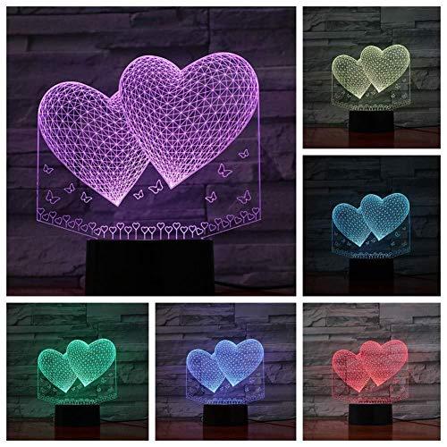 North cool Veilleuse Double Amour Coeurs Lampe LED 3D Nuit Enfant Fille Enfants Bébé Cadeaux D'anniversaire LED USB 3D Nuit (Color : Multi-colored)