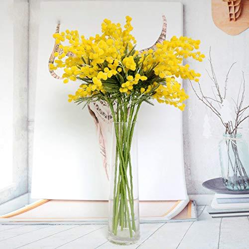 wwwl Flores Artificiales 5 Tenedor 57cm Flores De Acacia Artificial Rama De Árbol Estambre Simulado Ramo Corona De Boda Decoración del Hogar Falso