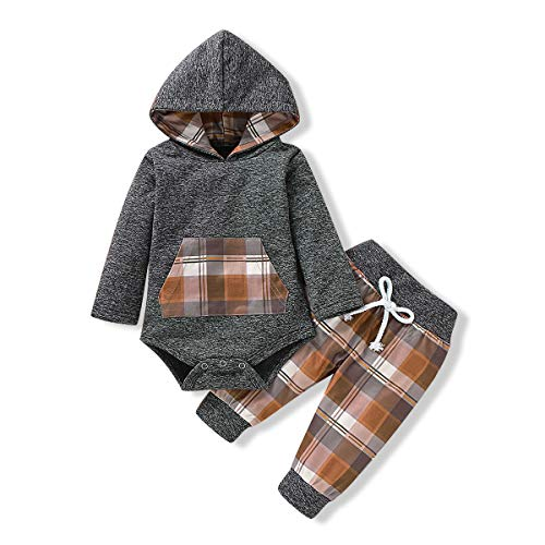 Baby Boy Clothes 18-24 Months Hoodie Outfit Classic Plaid Sweatshirt Long Sleeve Romper + Pants Winter Clothes Set