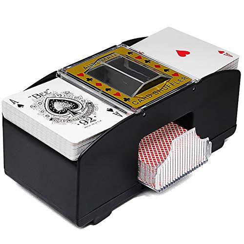 Wowlela Elektrischer automatischer Kartenmischer für Kartenspielliebhaber, 2 Kartenspiele Kartenmischer Automatischer Akku für Heimkartenspiele, Poker, Spielkarten, Rommé, Blackjack