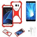K-S-Trade® Handyhülle + Kopfhörer Für Nubia Z17 Mini S Schutzhülle Bumper Silikon Schutz Hülle Cover Case Silikoncase Silikonbumper TPU Softcase Smartphone, Rot (1x),