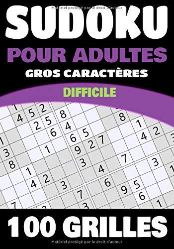 Sudoku Pour Adultes: Niveau Difficile   Gros Caractères  100 grilles de Sudoku avec solutions   17.78 x 25.4 cm - 126 pages   Cadeau idéal pour les amoureux de casse-tête PDF Books