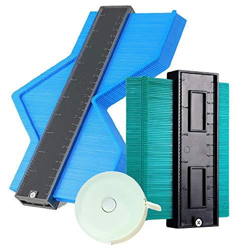 SHKI 型取りゲージ コンターゲージ 測定ゲージ 輪郭ゲージ 測定工具 2個セット 120mm/250mm (ブルー+グリーン) 巻き尺付き