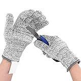 ShawFly 2 pares de guantes resistentes a los cortes de seguridad de trabajo de...