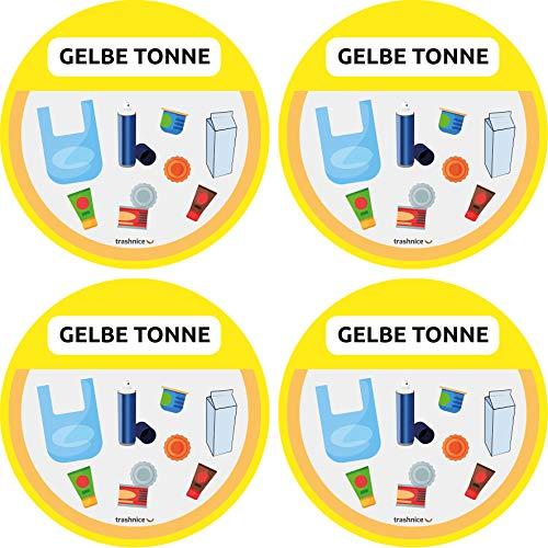 trashnice Gelbe Tonne Aufkleber 4er Pack Mülltonne Abfalleimer Set Abfall Abfalleimer-Aufkleber 95 mm, Gelbe Tonne, Biomüll, Papier, Mehrweg und Restmüll