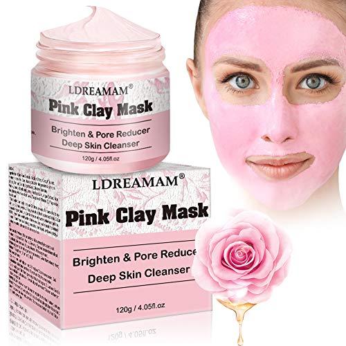 Mascarilla de arcilla rosa, Mascarilla facial de hidratante, Mascarilla Purificante e Exfoliante, Desintoxicación, limpieza profunda y refinación de poros para piel sensible, acné, eccema