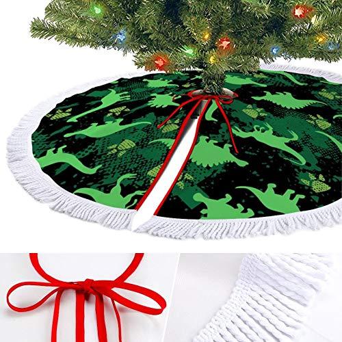 KAZOGU Watercolor Footprint Dinosaur Christmas Tree Skirt for Home Holiday Decoration Tassel Trim Ornament Xmas Tree Skirts