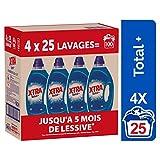 XTRA Total - Lessive Liquide Universelle - Blanc et Couleur - 100 Lavages (Lot de 4 x 1.25L)