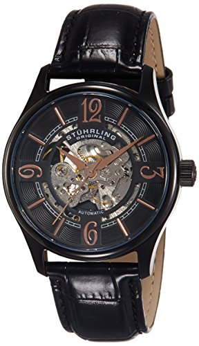 Stuhrling Original Men's 992.02 Legacy Automatic Skeleton Black Watch with Leather Strap