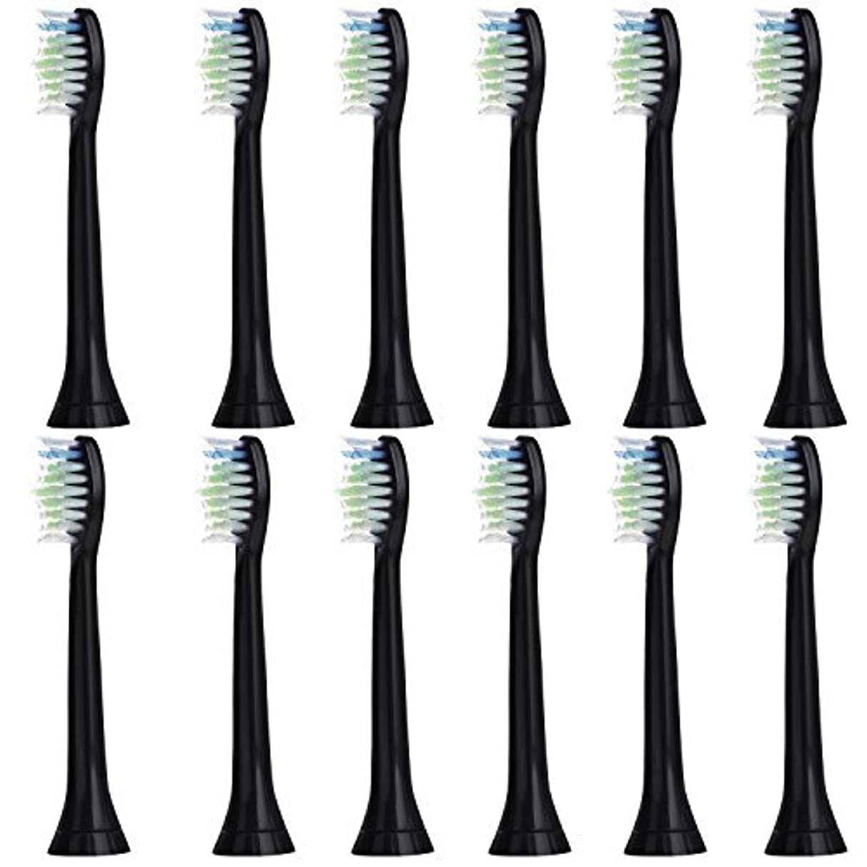 主婦主流暗い12個セット (3x4) E-Cron? Philips ソニッケアーダイヤモンドクリーン ブラック替ブラシ。次のフィリップス電動歯ブラシのモデルとの完全互換性があります: DiamondClean、FlexCare、FlexCare Platinum、 FlexCare(+)、 HealthyWhite、2シリーズ、EasyClean およびPowerUp。
