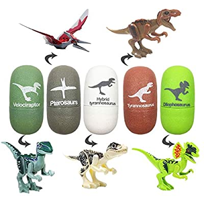Jofan 5 Pack Dinosaur Building Blocks Eggs Dinosaur Action Figures Dinosaur Toys for Kids Boys Christmas Stocking Stuffers Dinosaur Party Favors by Jofan