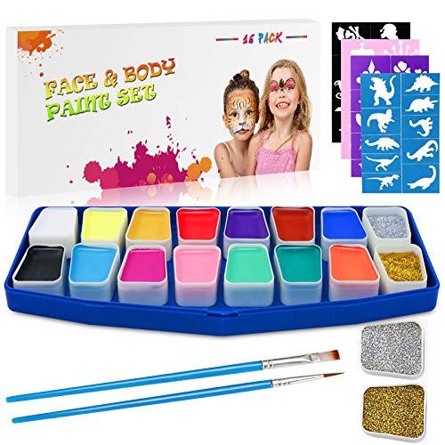 Emooqi Pintura Facial Maquillaje, 16 Colores Pintura de Cara Pintura de Maquillaje para Niños con 2 Piezas de Polvo de Brillo+2 Pinceles+40 Plantillas,Regalo para Niños,Seguro,No tóxico, No Alérgico