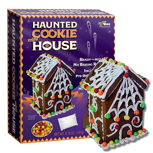 Small Halloween Gingerbread 3D Haunted Cookie House Kit, Miniature DIY Edible Houses for Decorating, Indoor Seasonal Crafts for Families, 4 x 3 Inches
