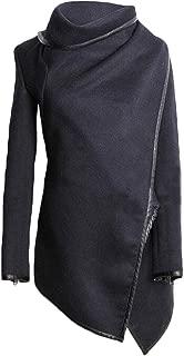 Macondoo Womens Thicken Irregular-Hem Wool Blend Outwear Jacket Peacoats